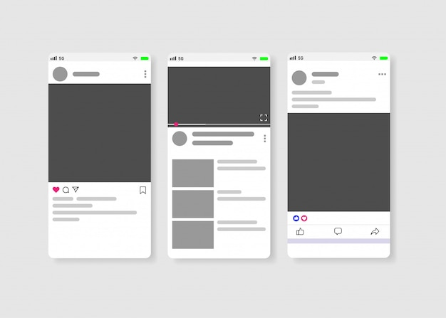 Mídia social moderna novo feed