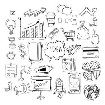 Mídia social ou coleção de ícones de negócios com estilo doodle