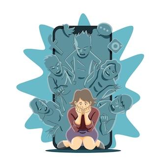 Mídia social ou conceito de cyber bullying
