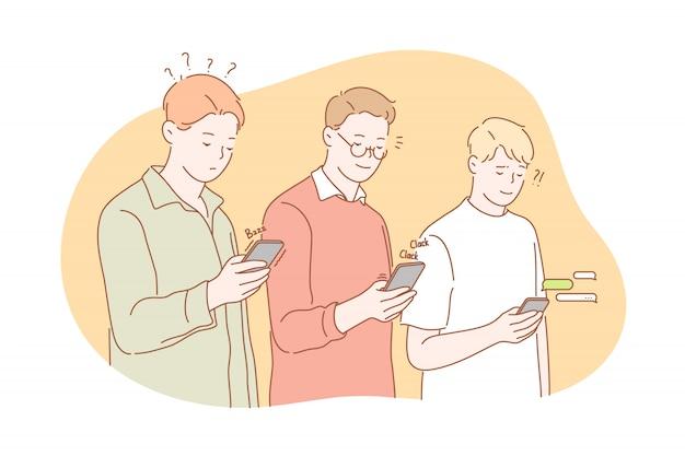 Mídia social ou rede, conceito de dependência