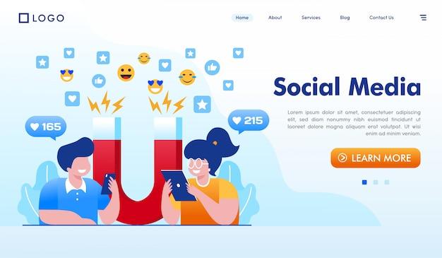 Mídia social página de destino site ilustração vector