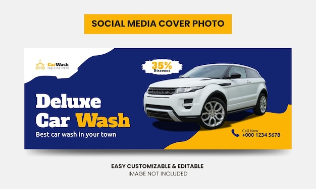 Mídia social para lavagem de carros modelo de foto de capa do facebook serviço de lavagem de carro capa para mídia social