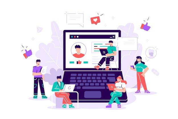 Mídia social. pessoas que usam dispositivos móveis, laptop, tablet pc, smartphone. rede social. blogging. ilustração design plano. homens e mulheres ficam e sentam-se perto do laptop. seguidores