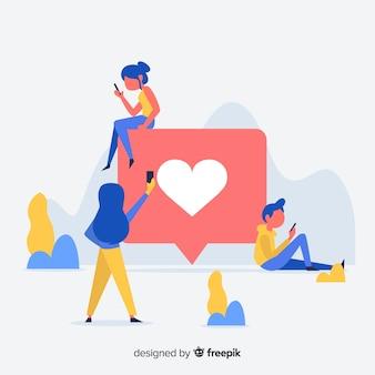 Mídia social plana jovens como fundo do conceito