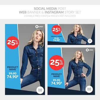 Mídia social postar banner da web e coleção de histórias do instagram