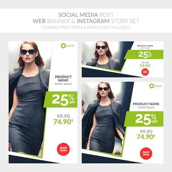 Mídia social postar banner da web e instagram story set