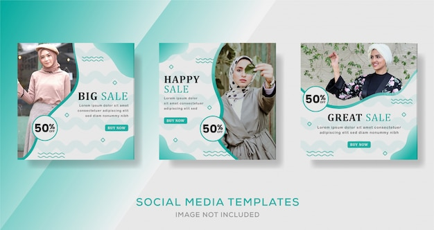 Mídia social postar banner de feed para venda de moda hijab