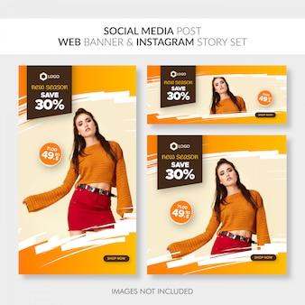 Mídia social postar banner web e instagram história definida