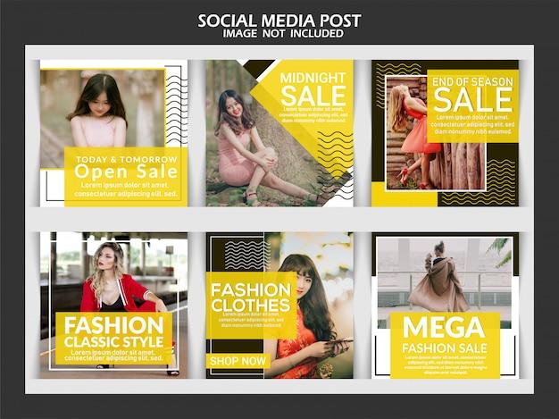 Mídia social postar coleção de modelos