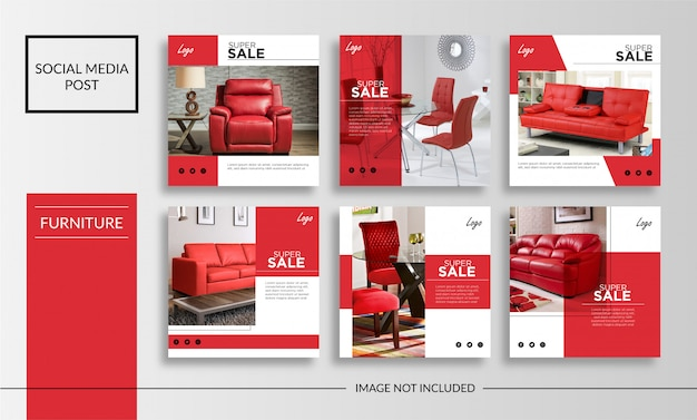 Mídia social postar modelo de móveis