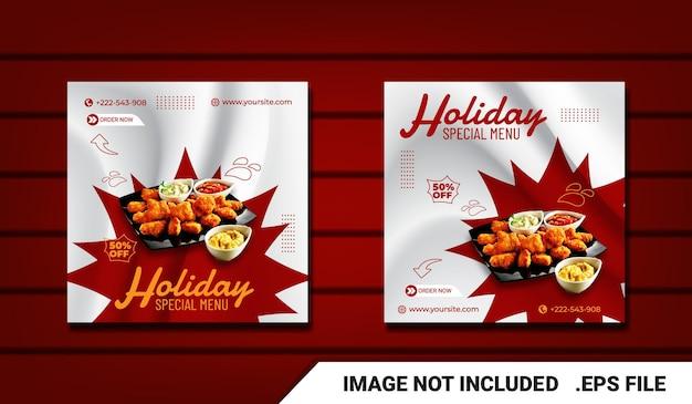 Mídia social postar modelo moderno de frango frito