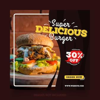 Mídia social postar modelo para banner de promoção de alimentos