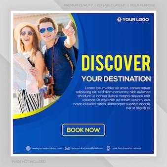 Mídia social postar tour e modelo de viagem