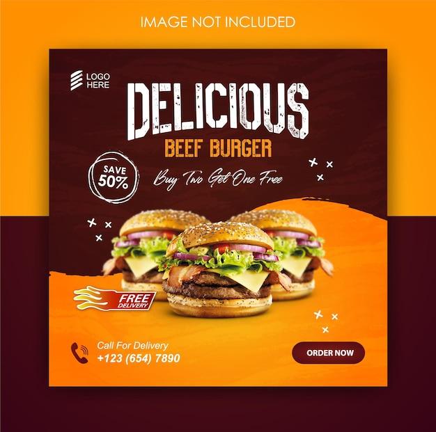 Mídia social promoção de hambúrguer comida e modelo de design de postagem no instagram