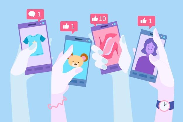 Mídia social, publicidade, telefone móvel, conceito