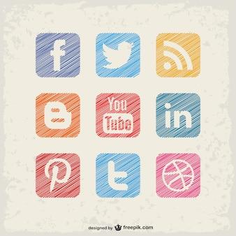 Mídia social quadrados botões