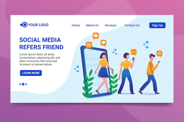 Mídia social refers amigo landing page