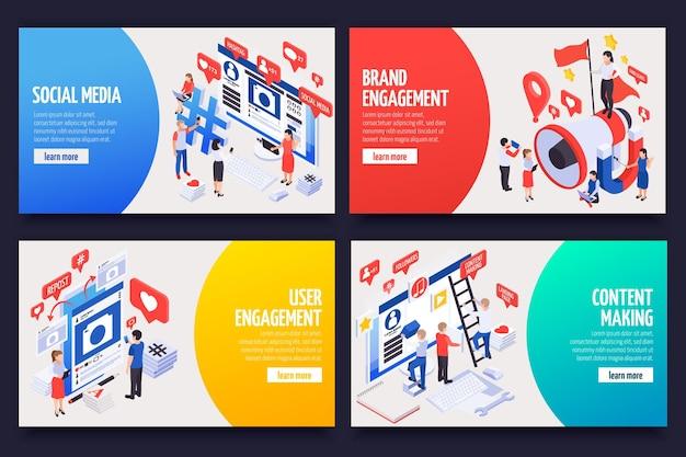 Mídia social smm atraindo clientes clientes anunciando marcas compartilhando conteúdo promovendo 4 banners isométricos definidos