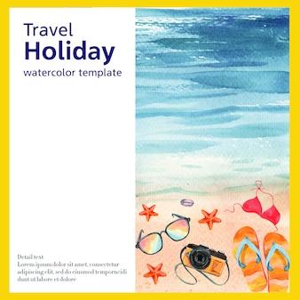 Mídia social viajar de férias de verão a praia férias de palma de árvore, mar e céu a luz do sol