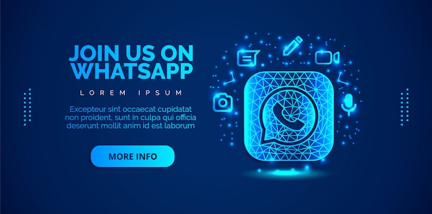 Mídia social whatsapp com fundo azul.