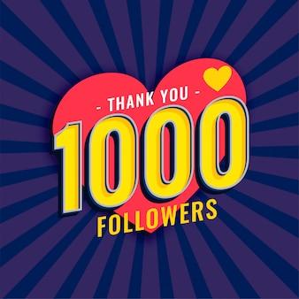 Mídias sociais 1000 seguidores fundo