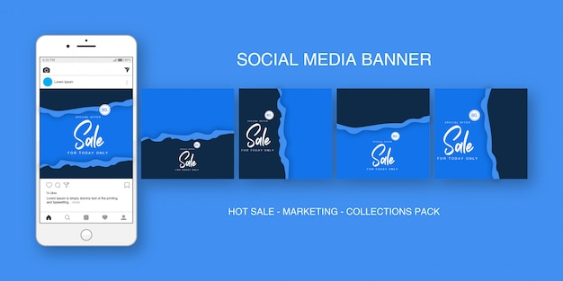 Mídias sociais banner instagram blue collections pack