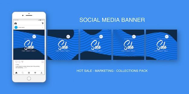 Mídias sociais banner instagram blue collections pack
