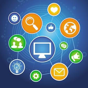 Mídias sociais com ícones de aplicativos