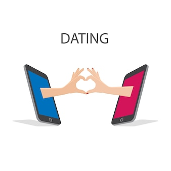 Mídias sociais com telefone, mão use sinal de amor