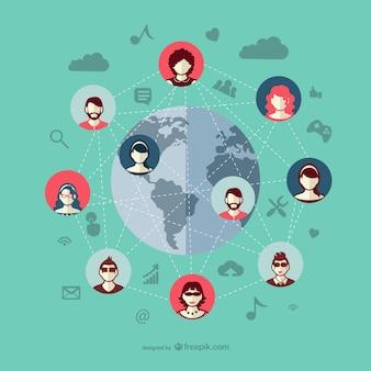 Mídias sociais conectam pessoas vetor