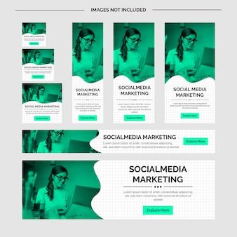 Mídias sociais corporativas modernas e anúncios em verde-mar
