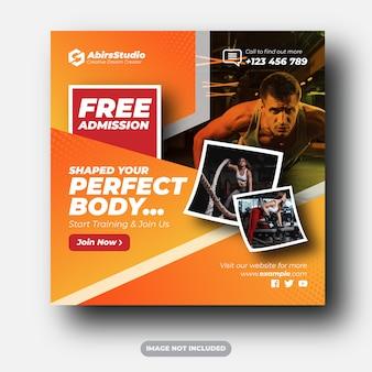 Mídias sociais de academia e fitness publicam anúncios em banner
