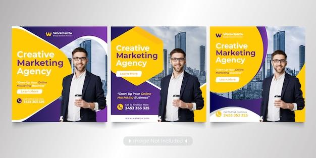 Mídias sociais de negócios postar banners premium