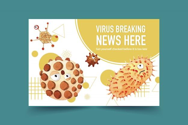 Mídias sociais decoram com pintura em aquarela de gripe, ilustração de bactérias.