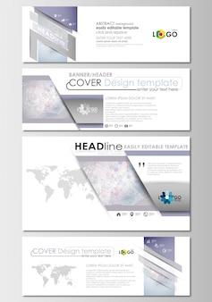 Mídias sociais e cabeçalhos de e-mail definido, banners modernos. modelo de design de capa. estrutura da molécula