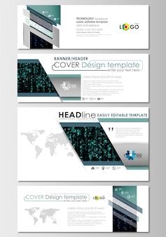 Mídias sociais e cabeçalhos de e-mail definido, banners modernos. modelo de design de capa
