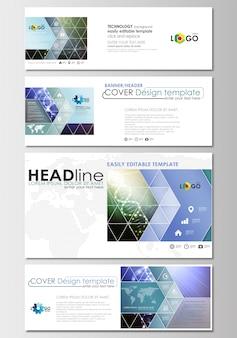 Mídias sociais e cabeçalhos de e-mail definido, banners modernos. modelos de negócios.