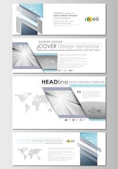 Mídias sociais e cabeçalhos de e-mail definido, banners modernos.