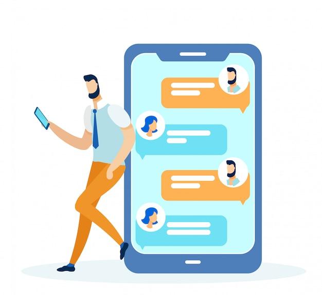 Mídias sociais e redes, telefone com mensagens.