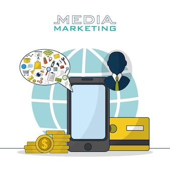 Mídias sociais e símbolos de marketing digital