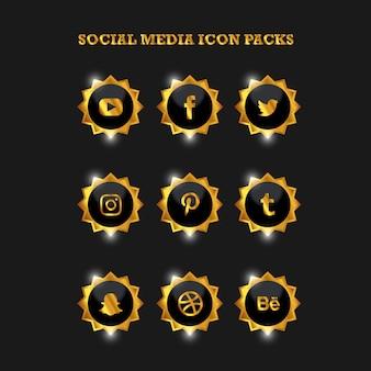Mídias sociais icon packs gold