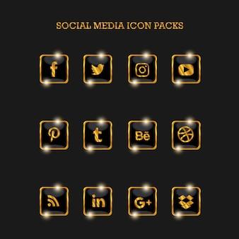 Mídias sociais icon packs square gold