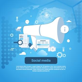 Mídias sociais marketing estratégias template web banner com espaço da cópia