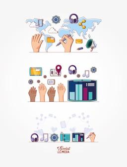 Mídias sociais marketing ícones vector design ilustração
