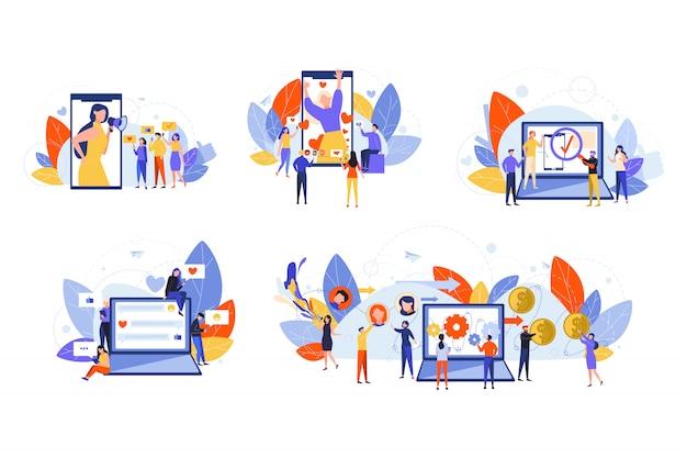 Mídias sociais, marketing, monetização, promoção, conceito de conjunto de conteúdo