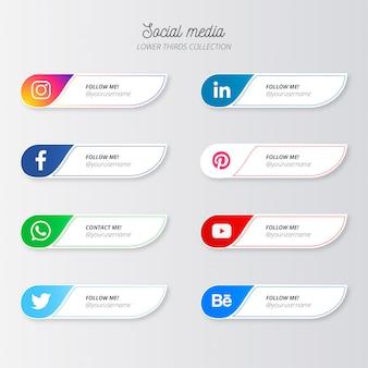 Mídias sociais modernas terços inferiores
