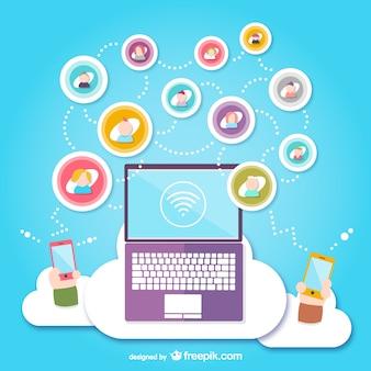 Mídias sociais nuvem vector