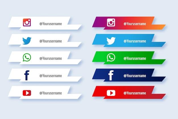 Mídias sociais populares inferior terceiro conjunto de ícones criativos