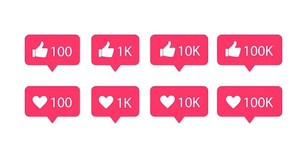 Mídias sociais s. coração e polegar para cima. como ícone. notificações de bolha do discurso.
