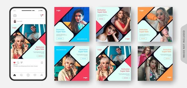 Mídias sociais super exclusivas de venda de moda em mega postam banner e coleção de banner da web.